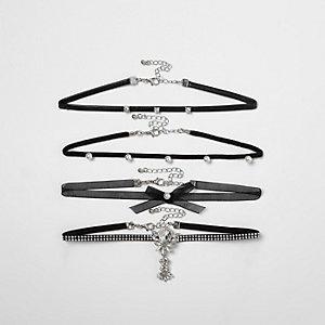 Black pearl and stud embellished choker set