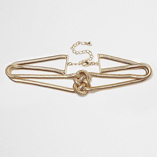 Gold tone snake chain knot choker