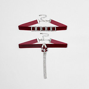 Dark red embellished velvet choker set