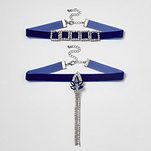 Blue velvet diamante drop choker set