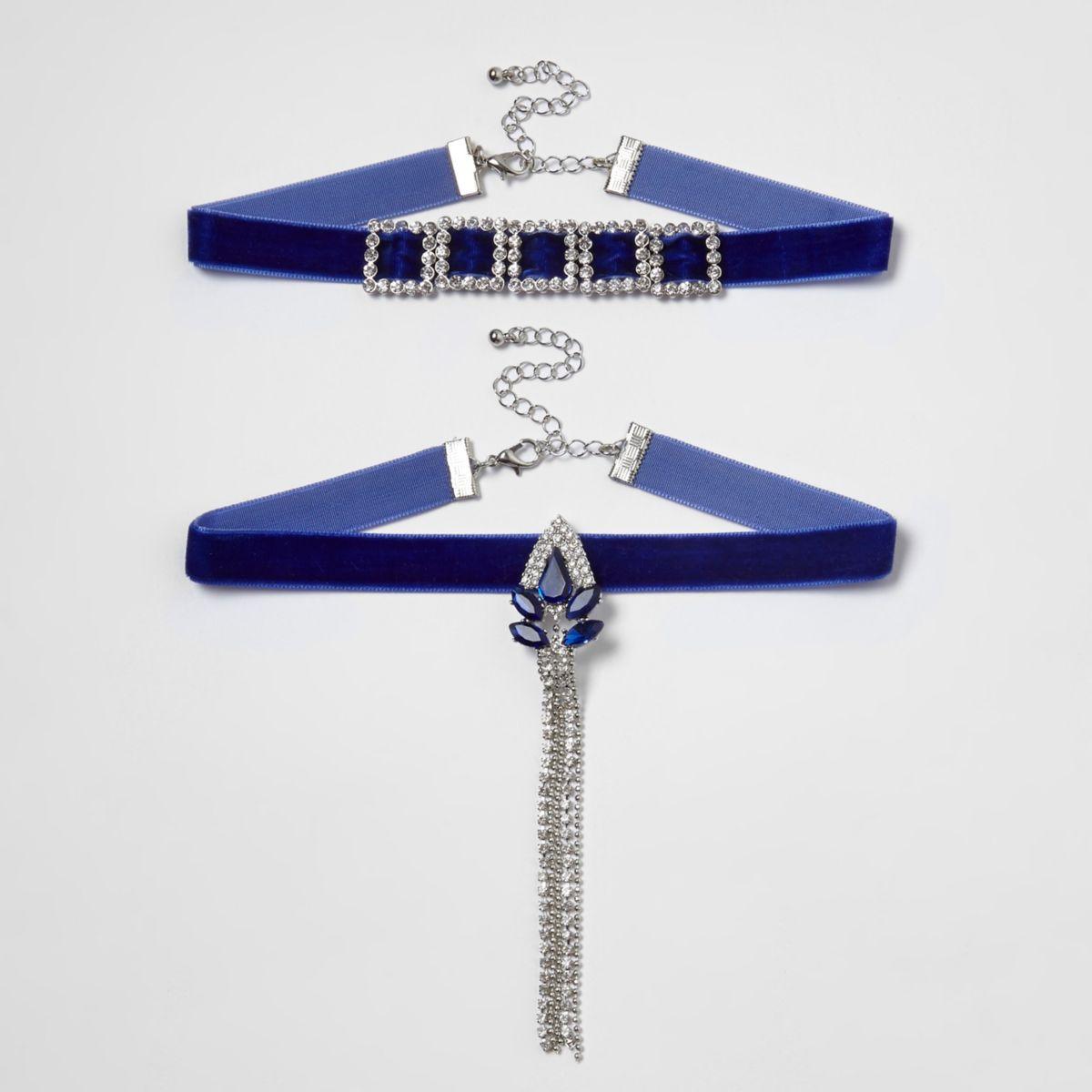 Blue velvet diamante drop choker set