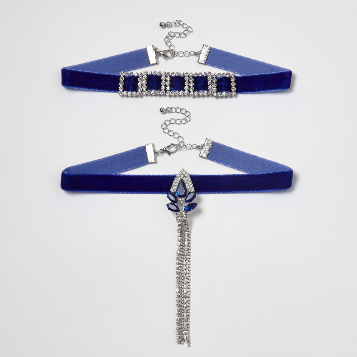 Blue velvet rhinestone drop choker set