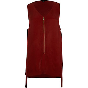 Dark red zip front sleeveless top