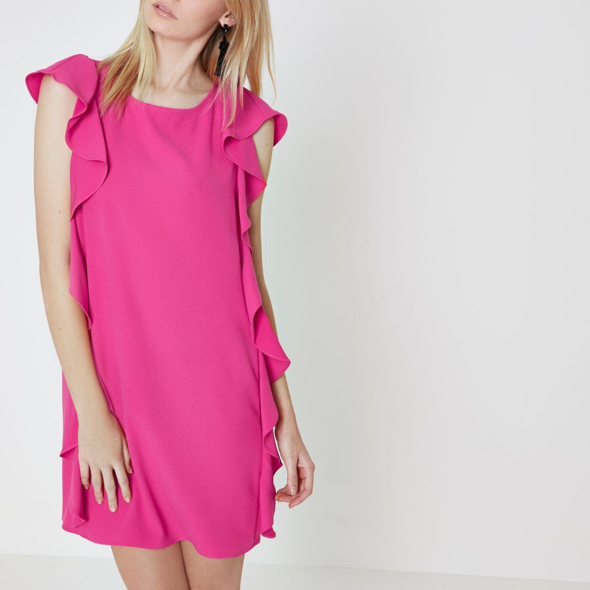 Bright pink frill side sleeveless swing dress