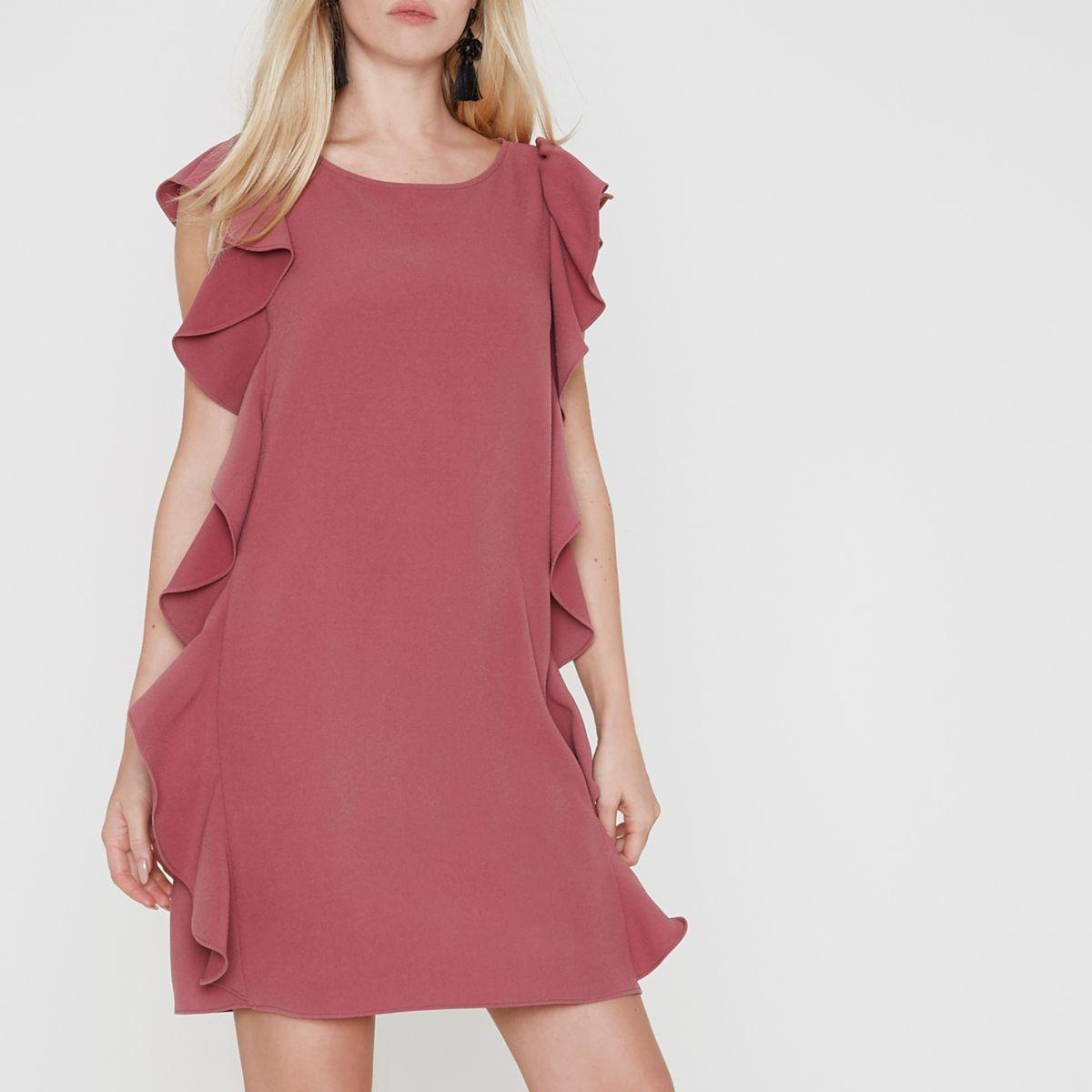 Dark pink frill side sleeveless swing dress