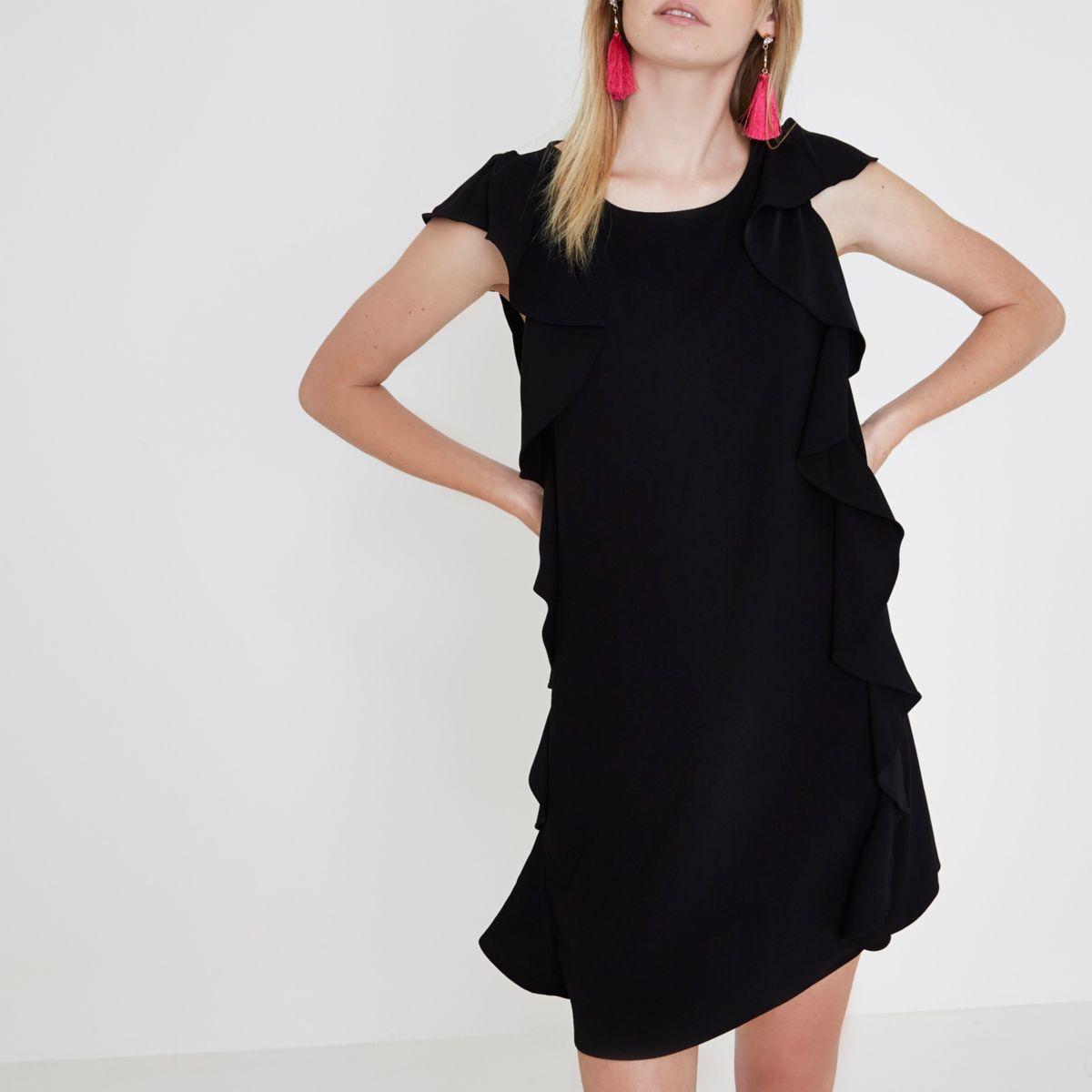 Schwarzes, ärmelloses Swing-Kleid mit Rüschen