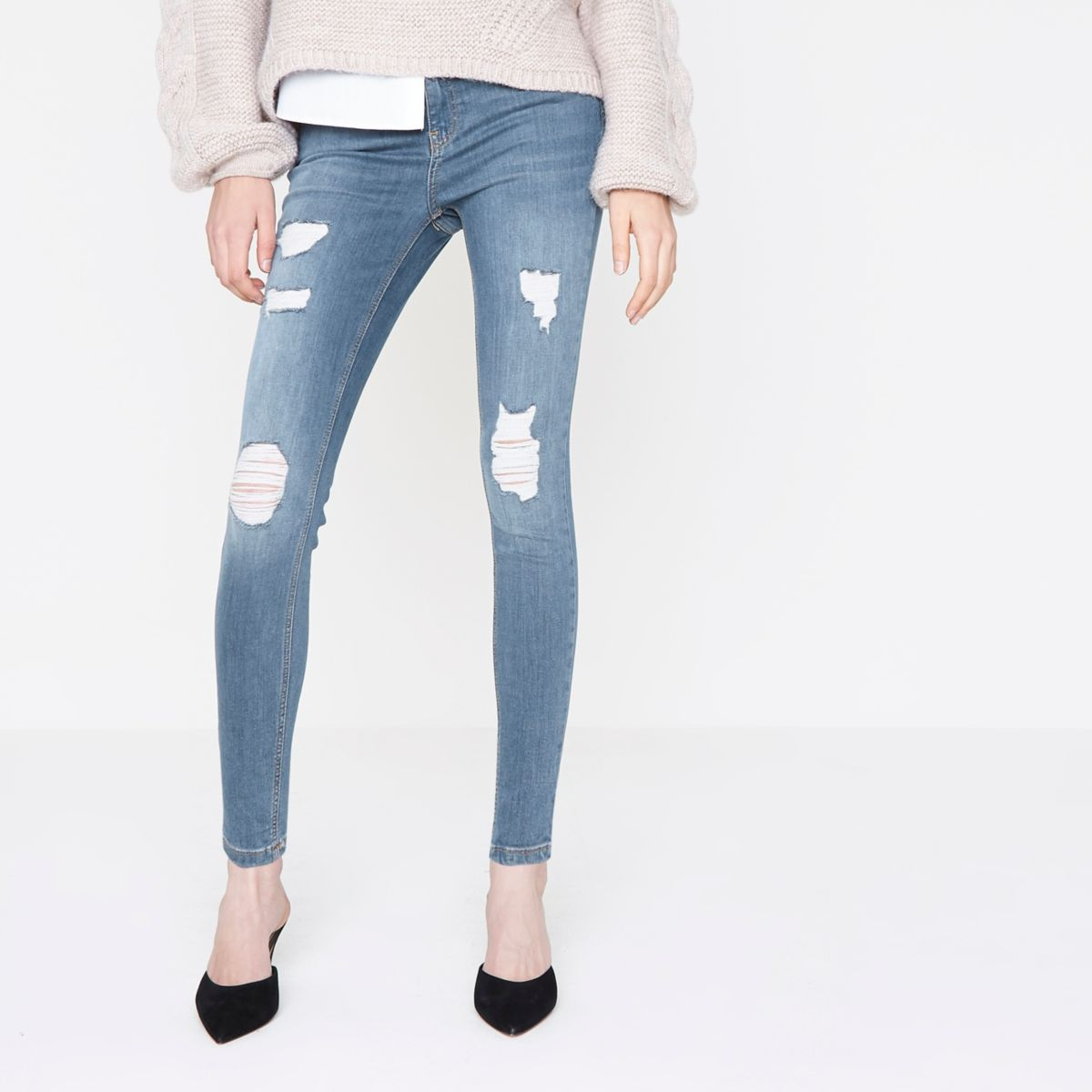 Create a flawless shape in these super-soft skinny jeans from William Rast, finished with ripped knees and released-hem styling for an ultra-chic vibe that works day to night. more More like this Find other Women's Jeans.