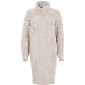 Beige cable knit roll neck sweater dress