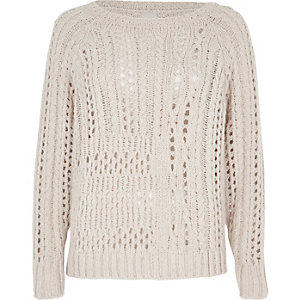 Light beige open stitch cable knit sweater