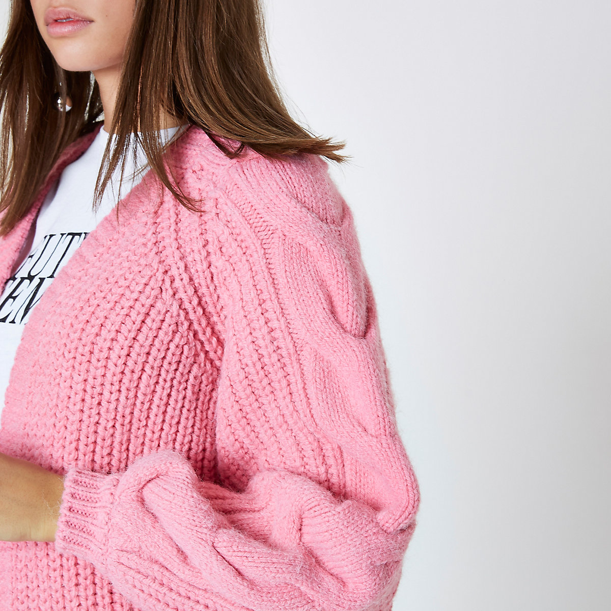 d2c0fe729b4 Pink balloon sleeve cable knit cardigan