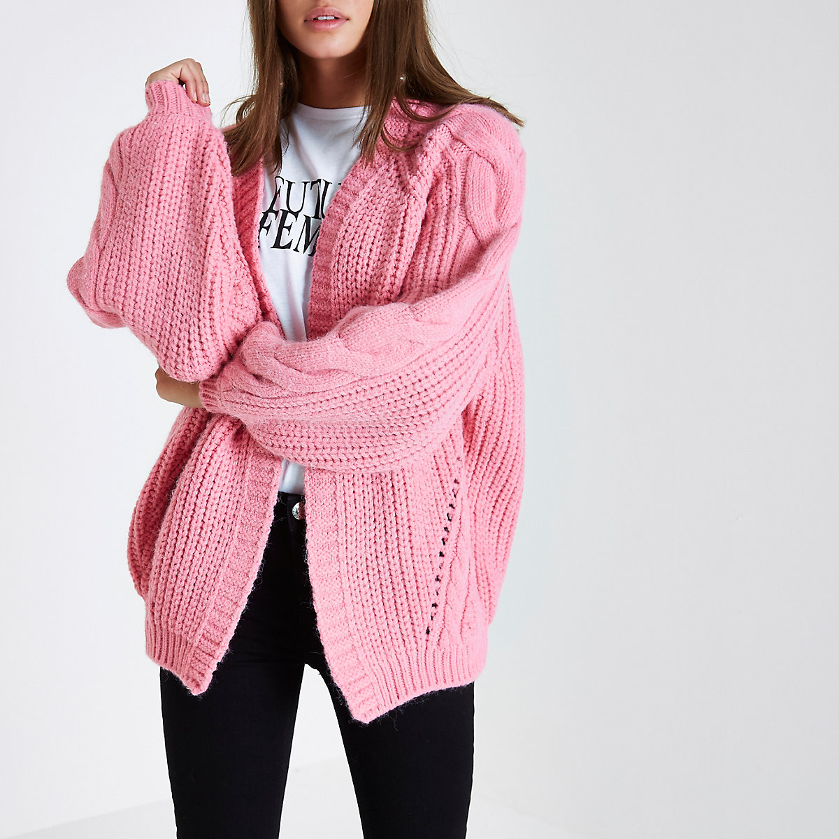 Pink balloon sleeve cable knit cardigan