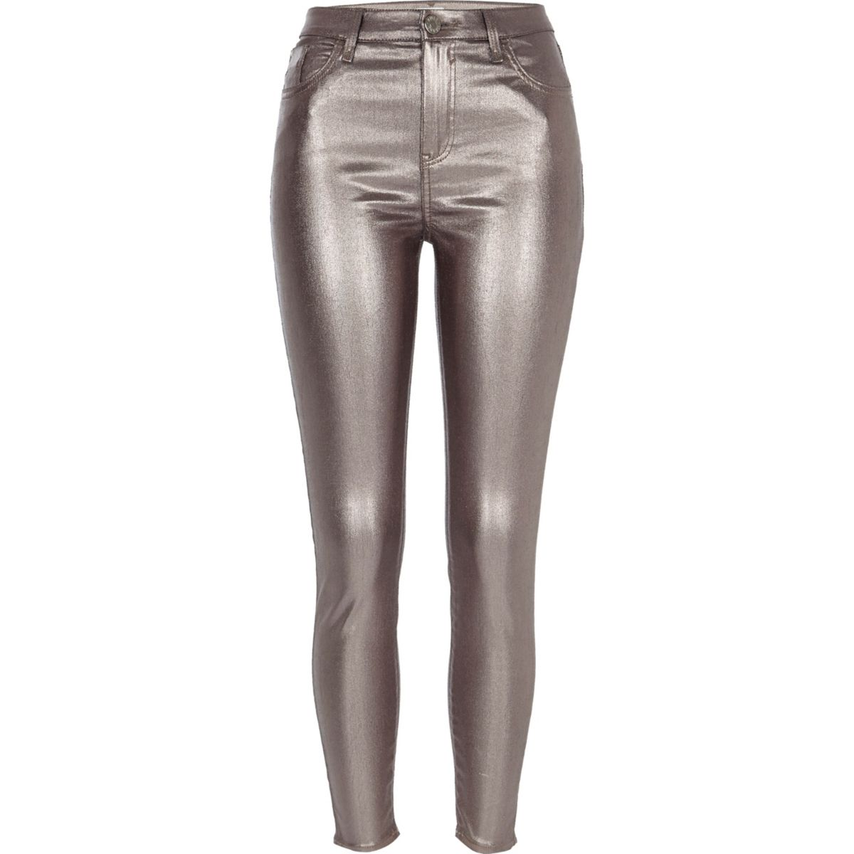Silver metallic Amelie super skinny jeans