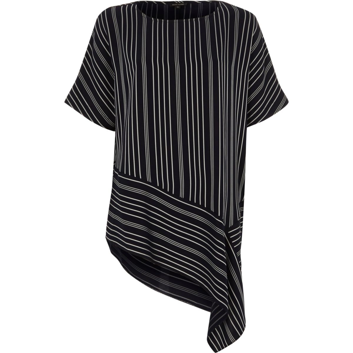 Navy stripe print asymmetric hem T-shirt
