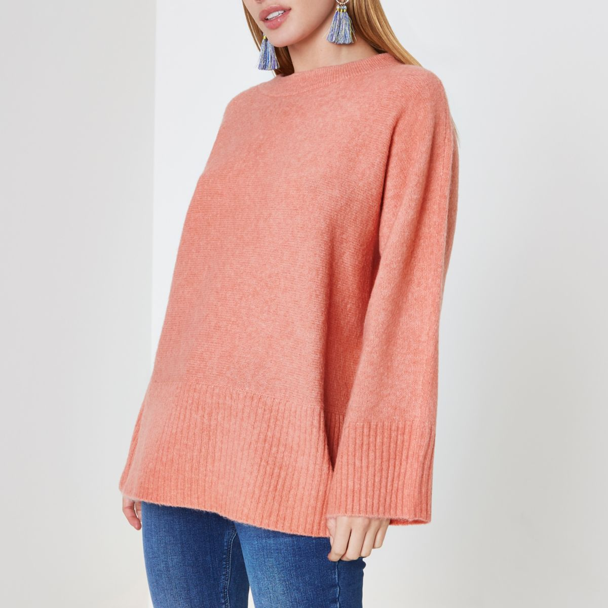 Petite orange tie back sweater