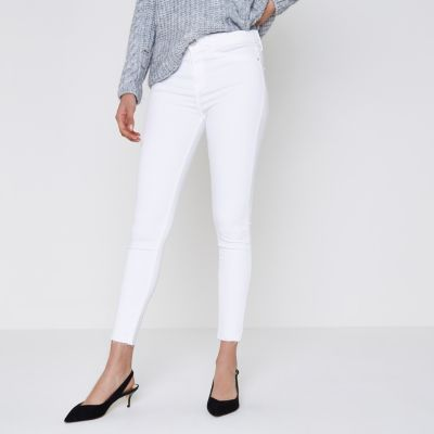 River Island Molly - Jegging blanc à ourlet brut