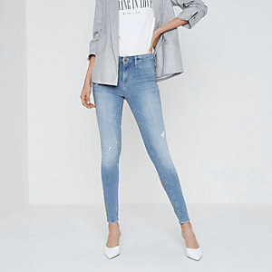 Molly - Lichtblauwe distressed jegging