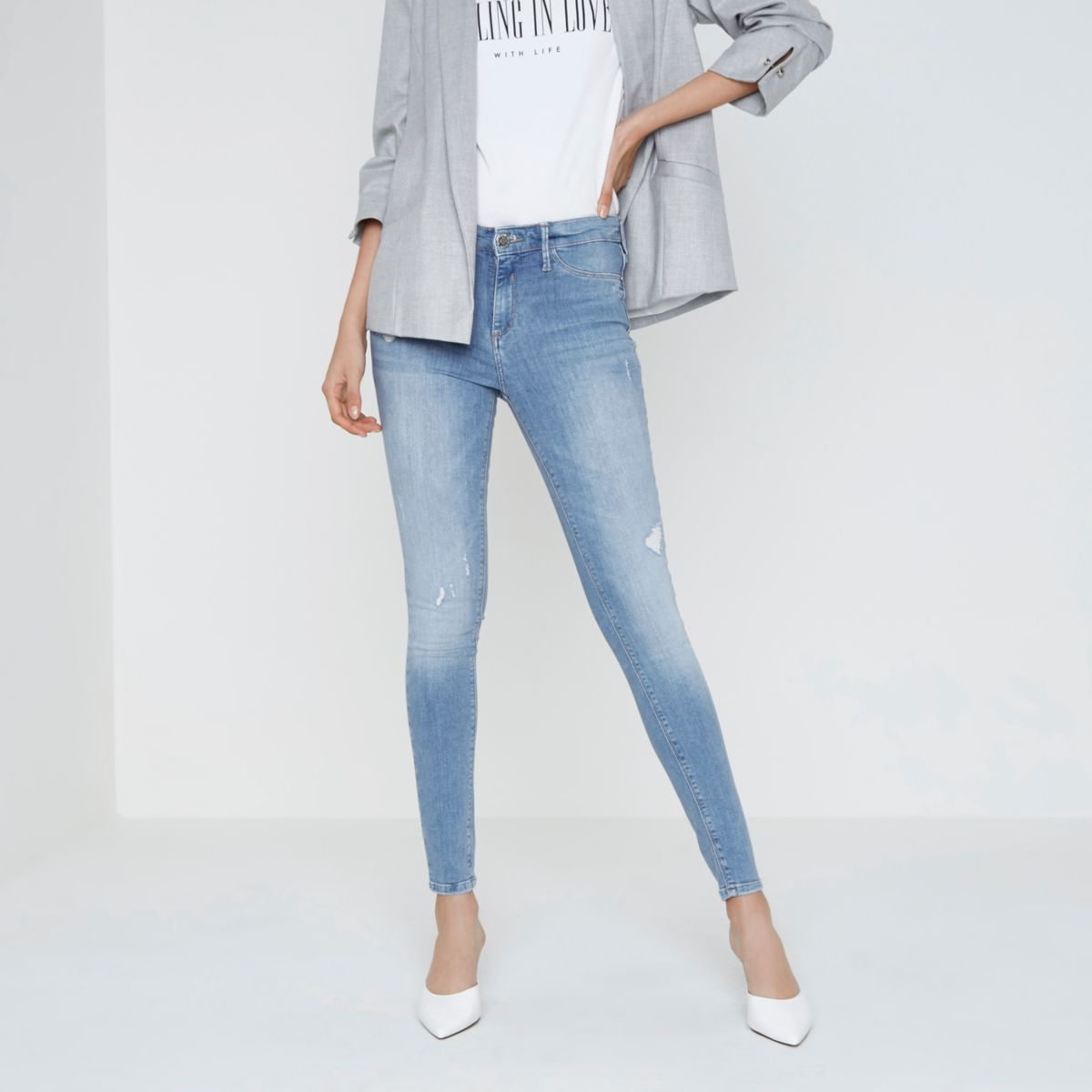Light blue Molly distressed jeggings