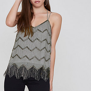 Petite grey embellished cami top