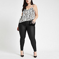 Plus black coated Molly jeggings