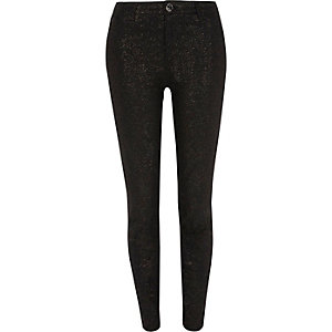 Black glitter Molly skinny jeggings