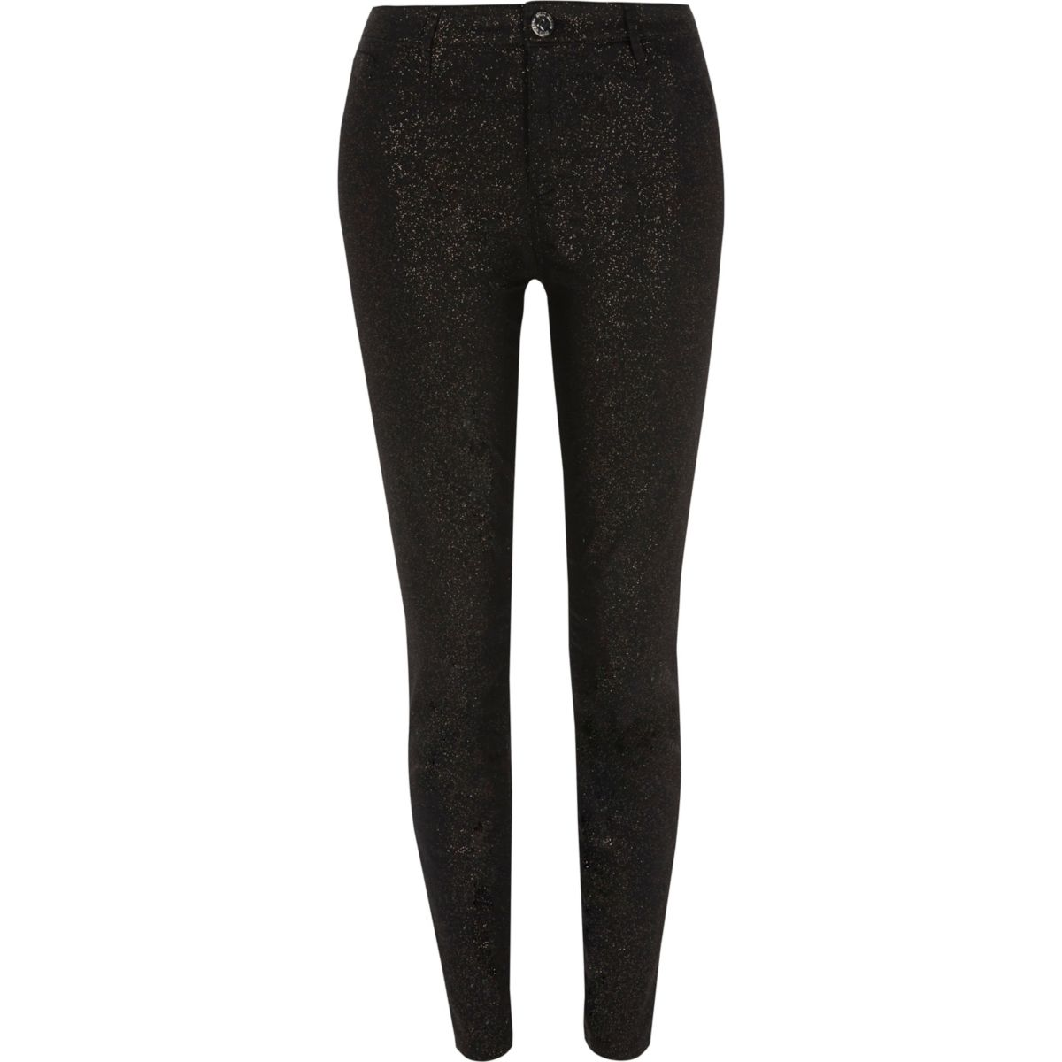 Molly – Schwarze, glitzernde Skinny Jeggings