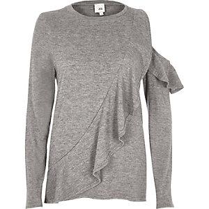 Grauer Pullover mit Rüschen und Ausschnitten