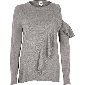 Grey frill front cut out shoulder sweater