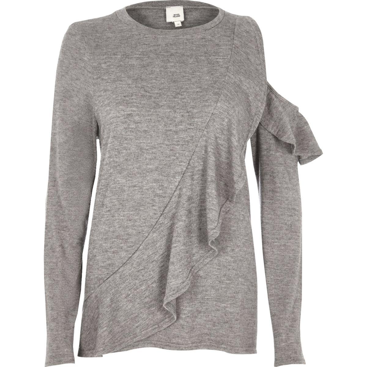 Grey frill front cut out shoulder jumper