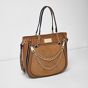 Beige double chain front scoop tote bag