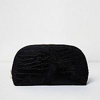 Black suede croc ponyskin makeup bag