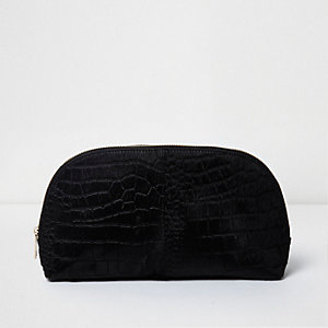 Black suede croc ponyskin makeup bag