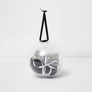 Black and grey socks bauble gift pack