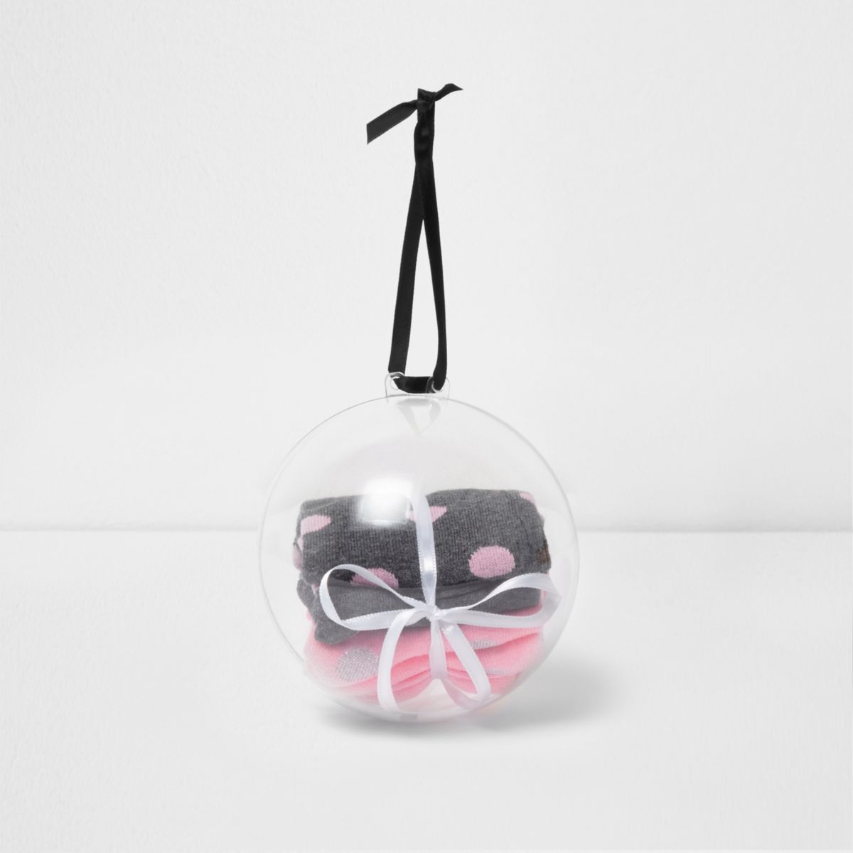 Black and pink socks bauble gift pack