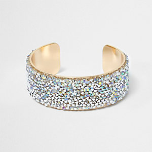Gold tone rhinestone cluster cuff bracelet