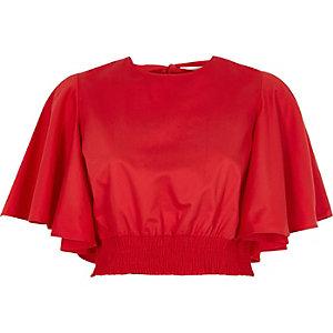 Rotes, kurzärmeliges Crop Top mit Rüschen und Raffung
