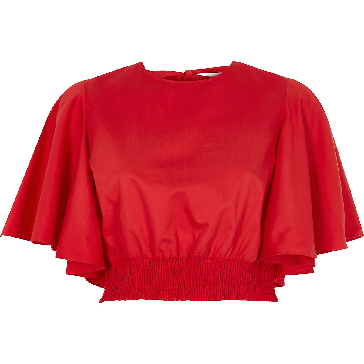 Red frill short sleeve shirred crop top