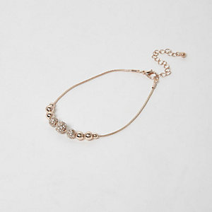 Rose gold tone diamante bead anklet