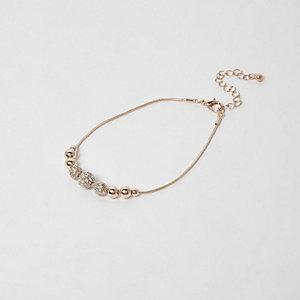 Bracelet de cheville à perles doré rose à strass