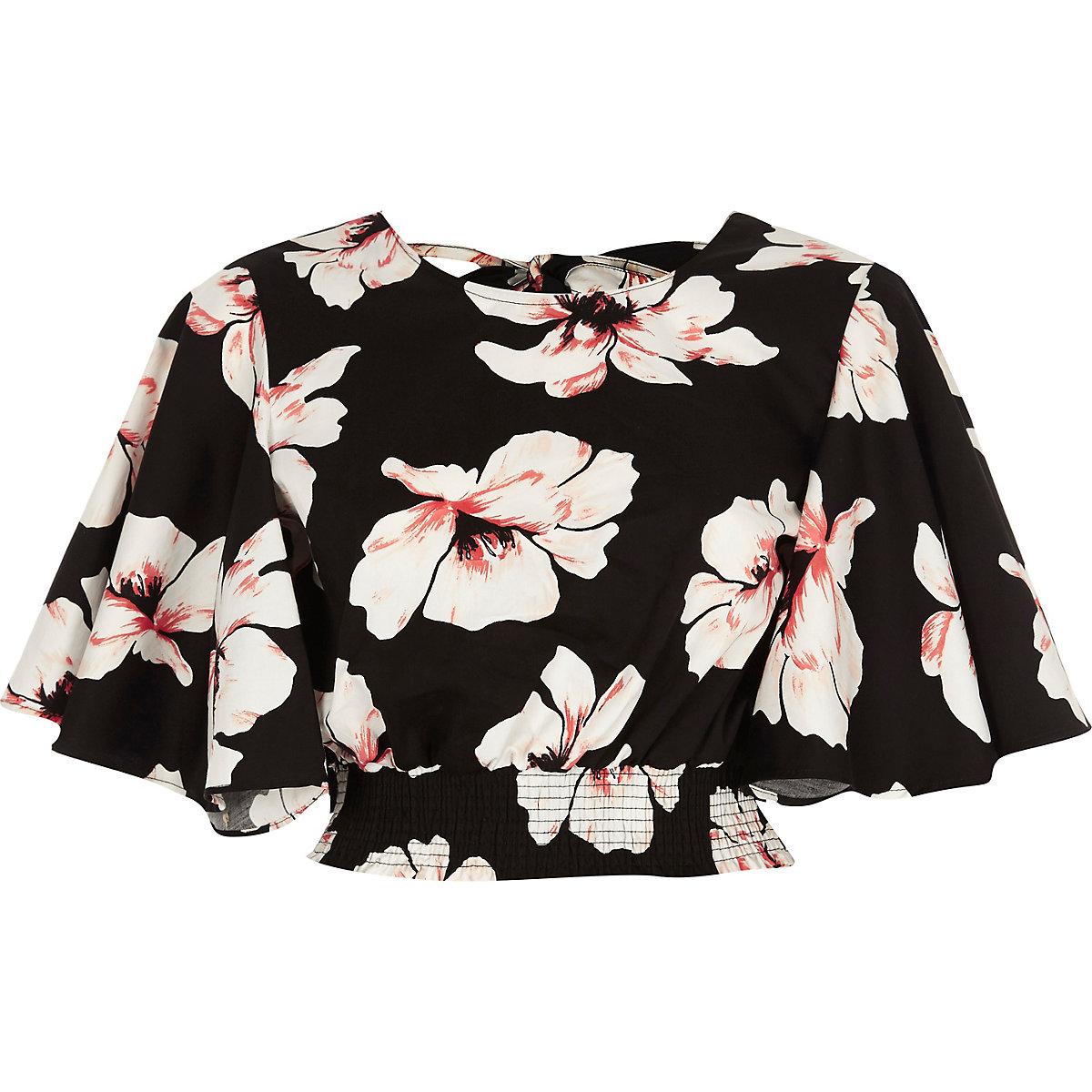 Black floral frill sleeve crop top