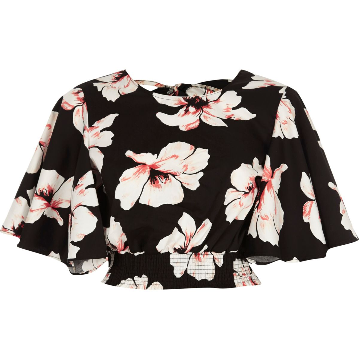 Black floral frill sleeve crop top