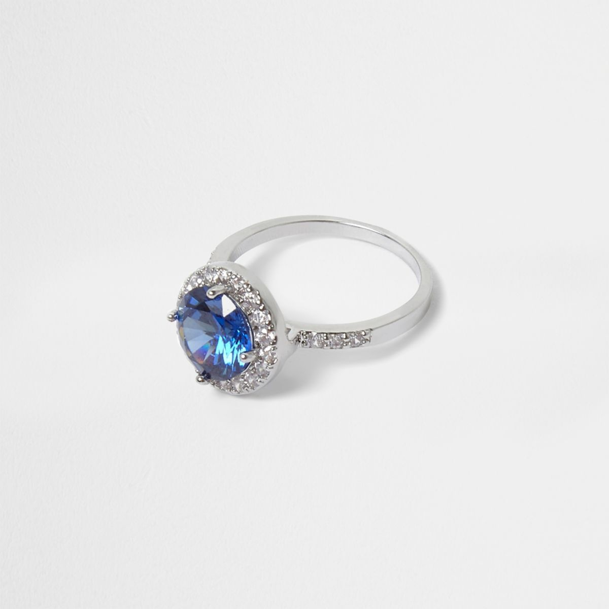Silver tone blue diamante ring