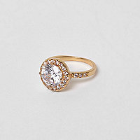 Gold tone rhinestone ring