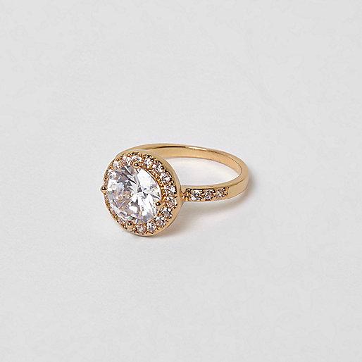 Cubic zirconia gold tone rhinestone ring