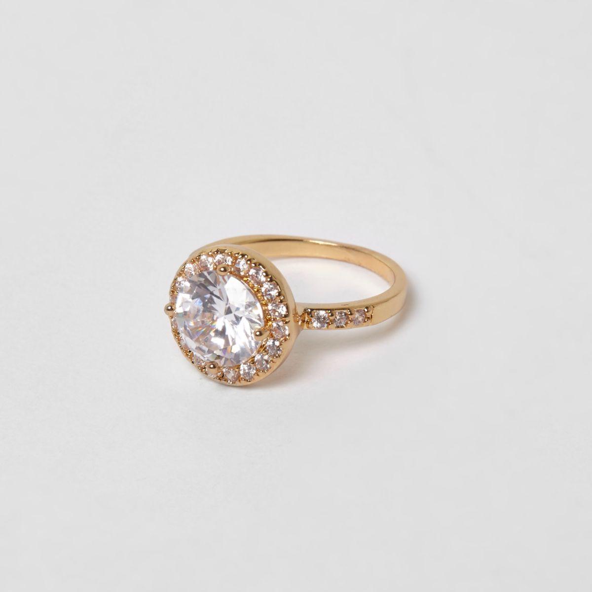 Cubic zirconia gold tone diamante ring