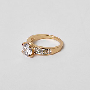 Cubic zirconia gold tone jewel ring