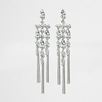 Silver tone rhinestone dangle drop earrings