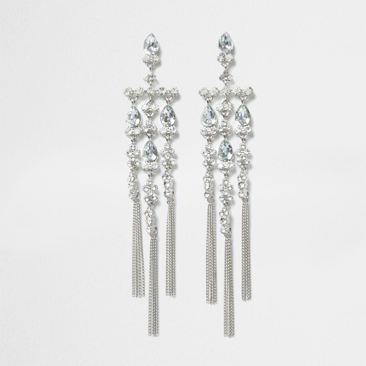 Silver tone diamante dangle drop earrings