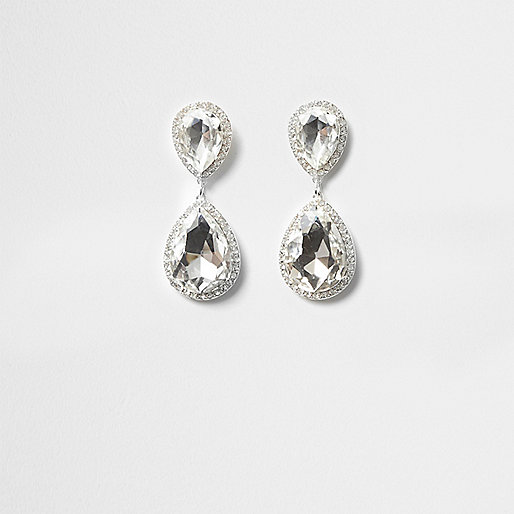 Silver tone jewel teardrop dangle earrings