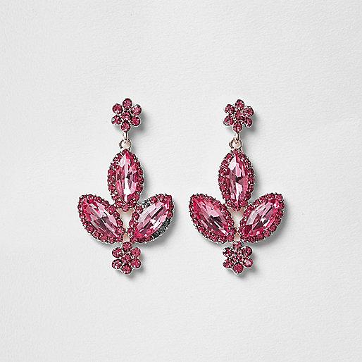 Pink gem dangle earrings