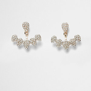 Rhinestone encrusted teardrop stud earrings